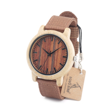 BOBO BIRD D10 2017 Fashion Bamboo Wood Watches Nylon Straps Wooden Dial Face Japan 2035 Quartz Watch for Women Men accept OEM