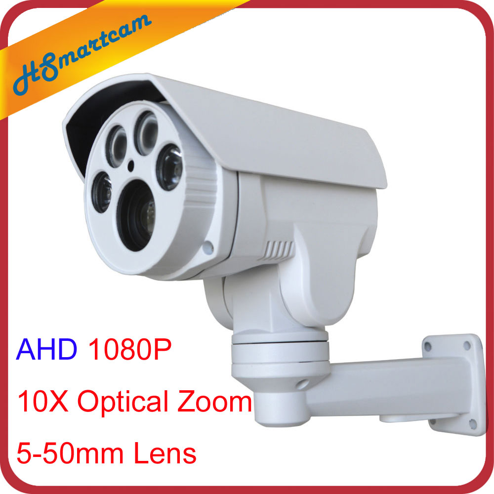 HD 1080P 2.0MP 10X Optical Zoom IP66 Waterproof AHD Bullet PTZ Camera 4 LED Night vision IR 60M 5-50mm Lens CCTV AHD Camera ccdcam 4in1 ahd cvi tvi cvbs 2mp bullet cctv ptz camera 1080p 4x 10x optical zoom outdoor weatherproof night vision ir 30m