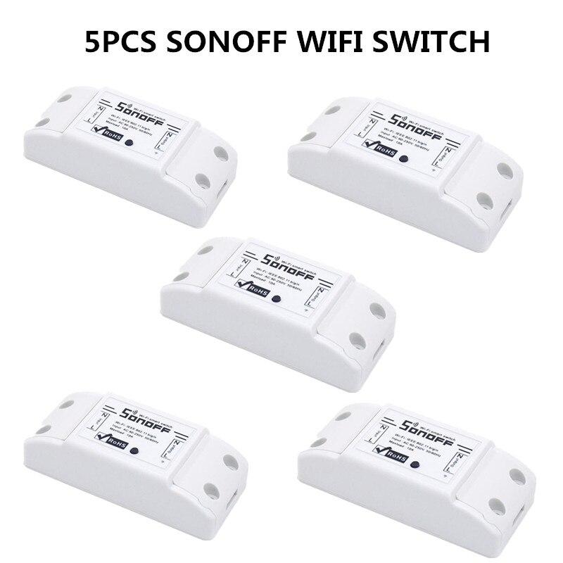5 pcs Sonoff Smart Wifi Commutateur Wlan 110 V 220 V Relais Module Soutien Travail Avec Google Maison Nid Alexa pour La Domotique