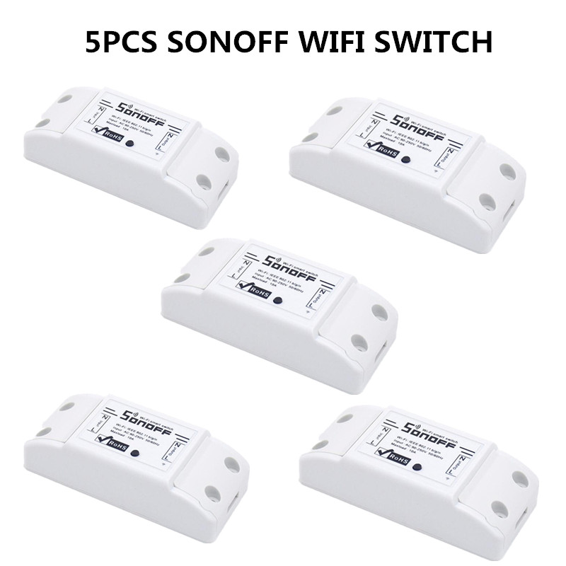5pcs sonoff smart wifi switch wlan 110v 220v relay module support work with google home nest. Black Bedroom Furniture Sets. Home Design Ideas