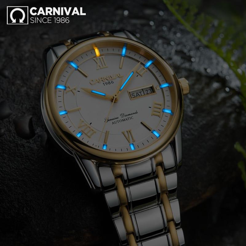 Reloj mecánico automático militar de doble calendario luminoso tritium T25 para hombre relojes de marca de lujo reloj impermeable uhr-in Relojes mecánicos from Relojes de pulsera    2