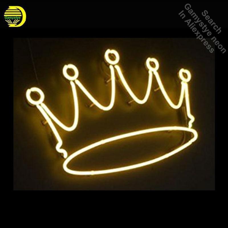 Corona Opere D'arte Al Neon Iscriviti Handcrafted Neon Lampadine Segno Tubo di Vetro LOGO Personalizzato Iconic segni Parete personalizzato Pubblicizzare Bordo Chiaro