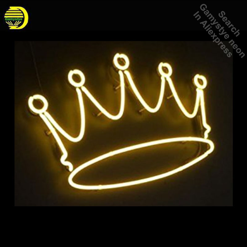 цена Crown Artwork Neon Sign Handcrafted Neon Bulbs Sign Glass Tube Custom LOGO Iconic Wall signs personalized Advertise Clear Board в интернет-магазинах