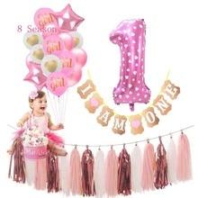 цена Baby Shower Pink Twins Garland 1st Happy Birthday Kids My First Party Decoration Girl 1 Year Princess Supplies One 2nd SHINY онлайн в 2017 году