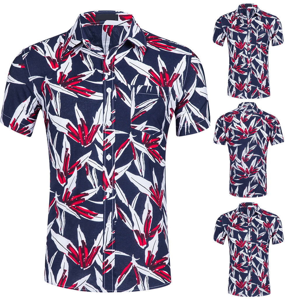 b30e2010c85 2019 Men s Summer New Fashion Print Shirts Plus Size Clothing Casual Business  Hawaii Short Sleeve Lapel Dress Shirts Tops Feb7-in Casual Shirts from Men s  ...