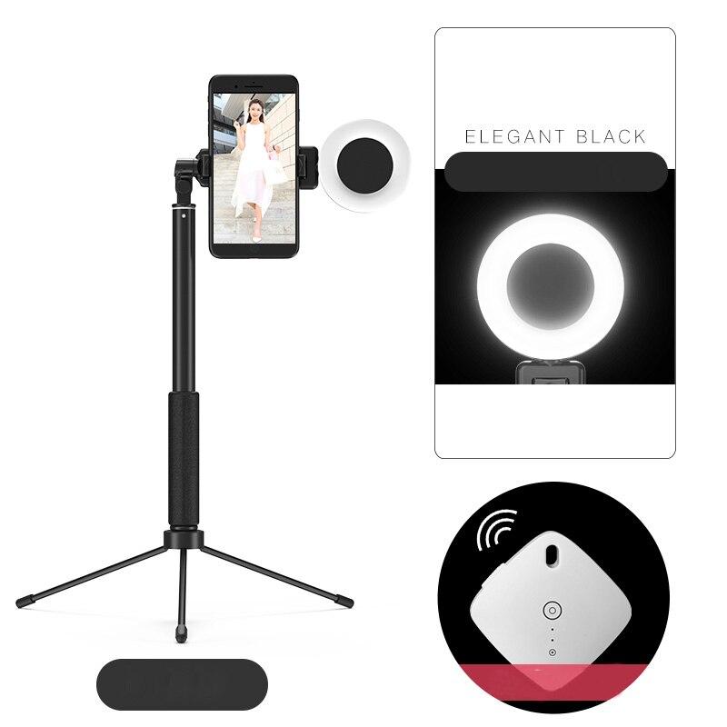 360 Grad Bluetooth Telefon Selfie Stick Stativ Einbeinstativ W Ring Licht Eingebaute Fernbedienung Für Vlogging Iphone X 7 Galaxy S8 S10 Xiaomi