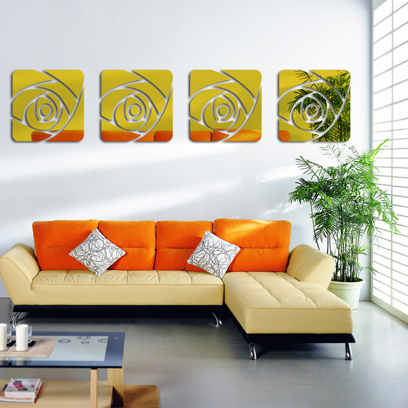 New Hot Wall Stickers Acrylic Mirror 3d Sticker Home Decor Decals Decoration Diy Modern Art