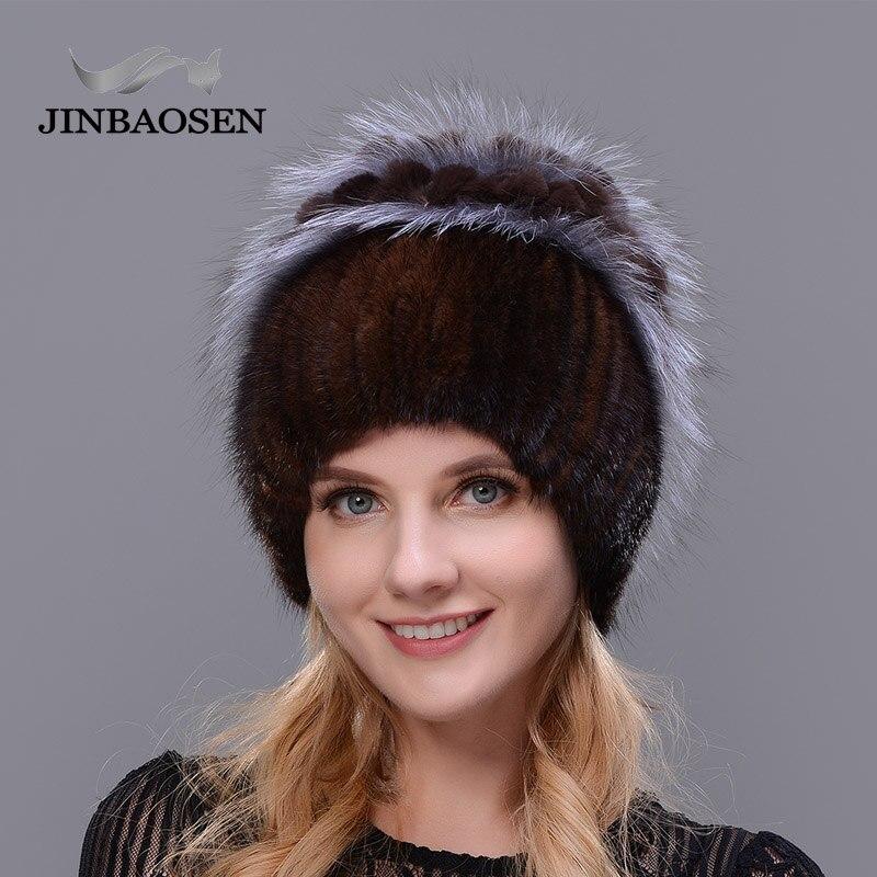 2018 Frau Winter Russische Pelz Mode Echt Pelzmütze Nerz Kaninchen Natürliche Fuchs Stricken Wolle Ski Hut Warme Ohr Schutz Reise Hut ZuverläSsige Leistung