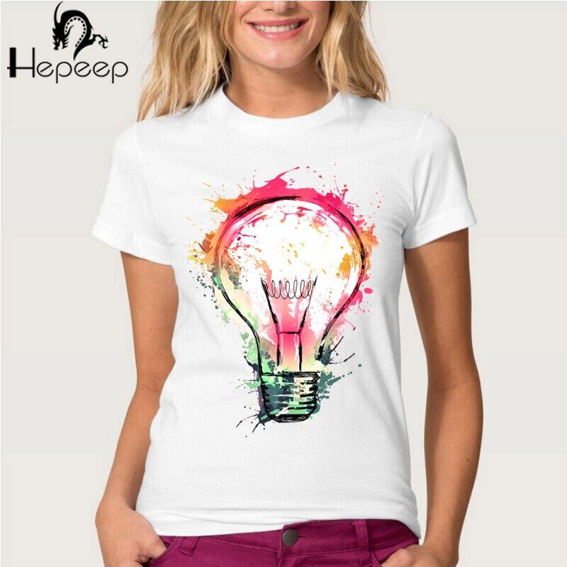 Nova Arte Moda Mulheres Do Punk T Shirt Top Tee Respingo Idéias Novidade  Salvar Projeto De Energia Elétrica Lâmpada Pintura Mode.