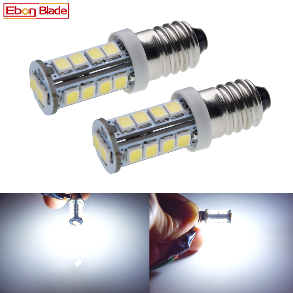 Pair White E10 Screw <font><b>LED</b></font> Upgrade Bulb <font><b>2835</b></font> 18SMD Emergency Light Lamp Super Bright For Torch Flashlight Bike Motor <font><b>6V</b></font> 12V 24V DC image