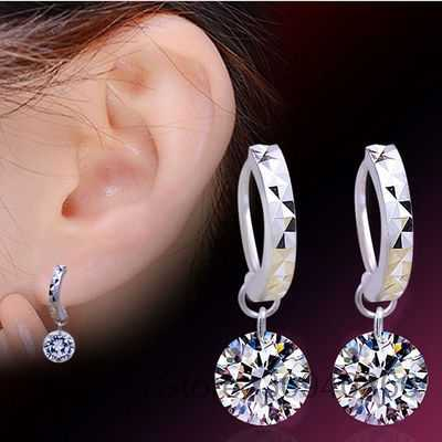 SALE Fine jewelry 925 silver new Crystal from Swarovski Feather high-grade temperament circle anti allergy earrings