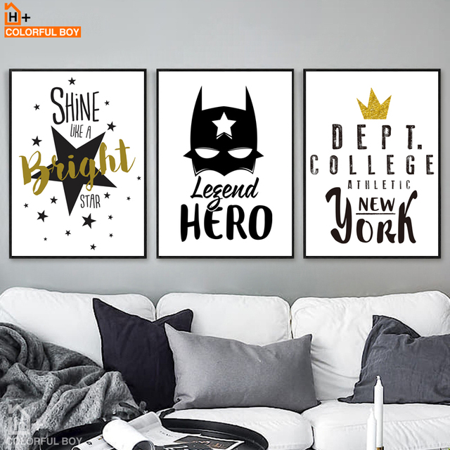 colorfulboy batman hero quotes wall art canvas painting black white