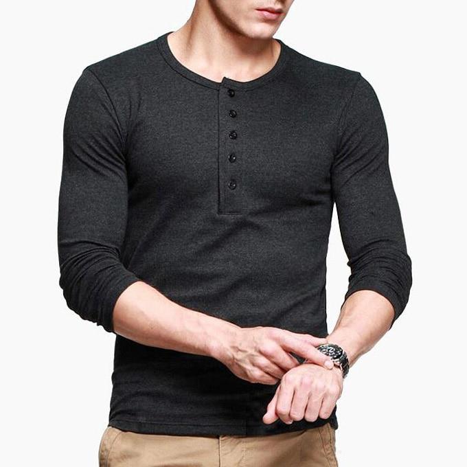 Popular henley shirt buy cheap henley shirt lots from for Black long sleeve henley shirt