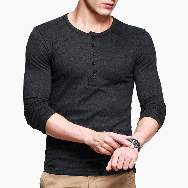 cfbda6140b7 Mens Casual T-shirt Henley shirt Long Sleeve Slim Flexibility Tee Black  Gray M To XXL ST-807