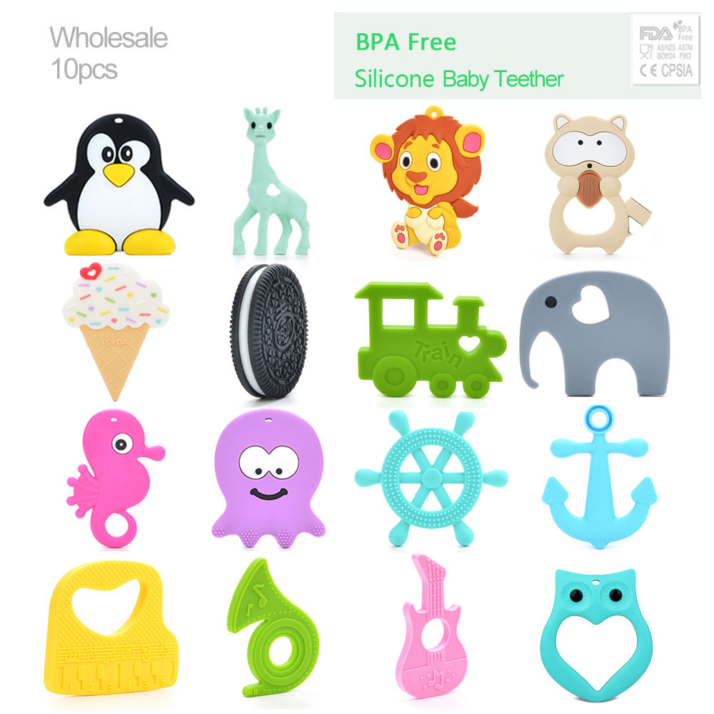 LOFCA 10pcslot Pendant Baby Teether Silicone Teething