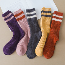 Winter new womens thick warm high quality fashion striped tube casual cotton socks