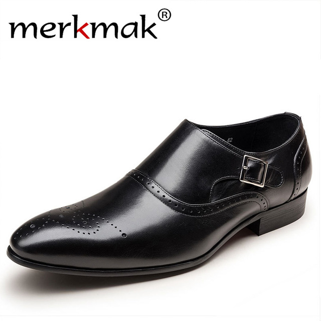 Merkmak Men Dress Shoes Vintage Brogue Oxford Shoes Fashion PU Leather Double Monk Buckle Strap Shoes Wedding Formal