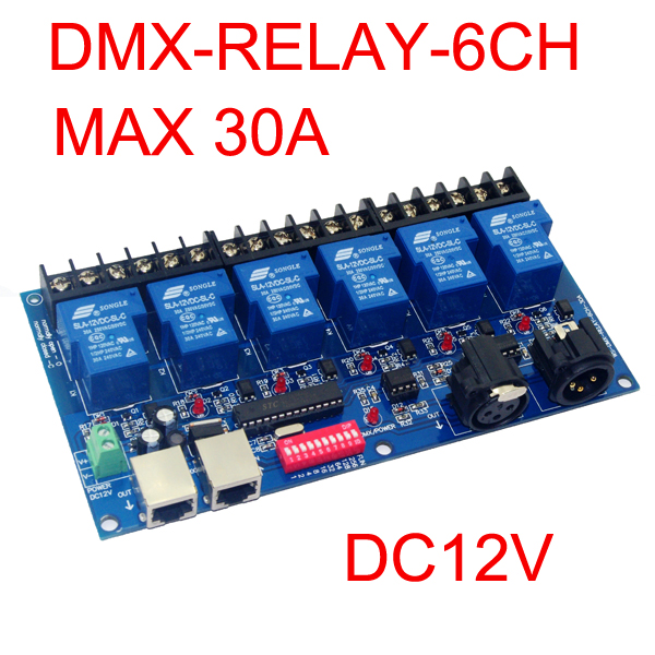 6CH DMX512 röle anahtarı denetleyicisi 6 kanal röle dekoder DC12V girişi, her kanal max 30A