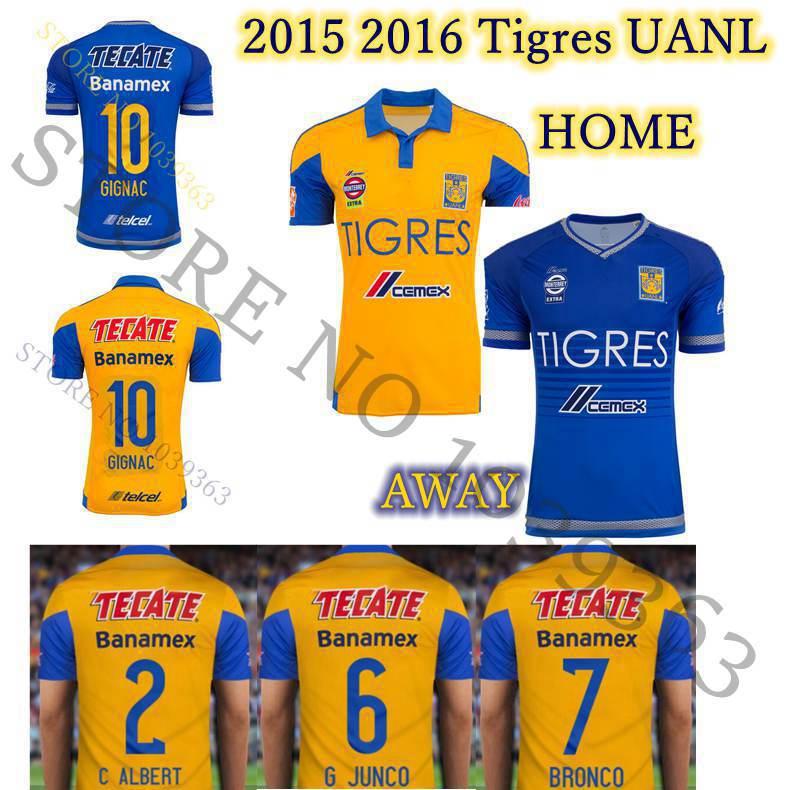3ba59b48f9c 2015 2016 Tigres UANL soccer Jersey GUERRON GIGNAC 15 16 Mexico league football  shirts home away Camisetas