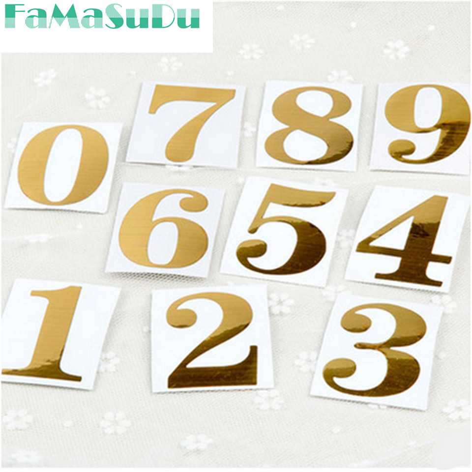 20pcs New Gold Number Stickers For Tables/Seats Card Guiding Place Wedding Table Centerpieces Party Supply Decorative Accessor