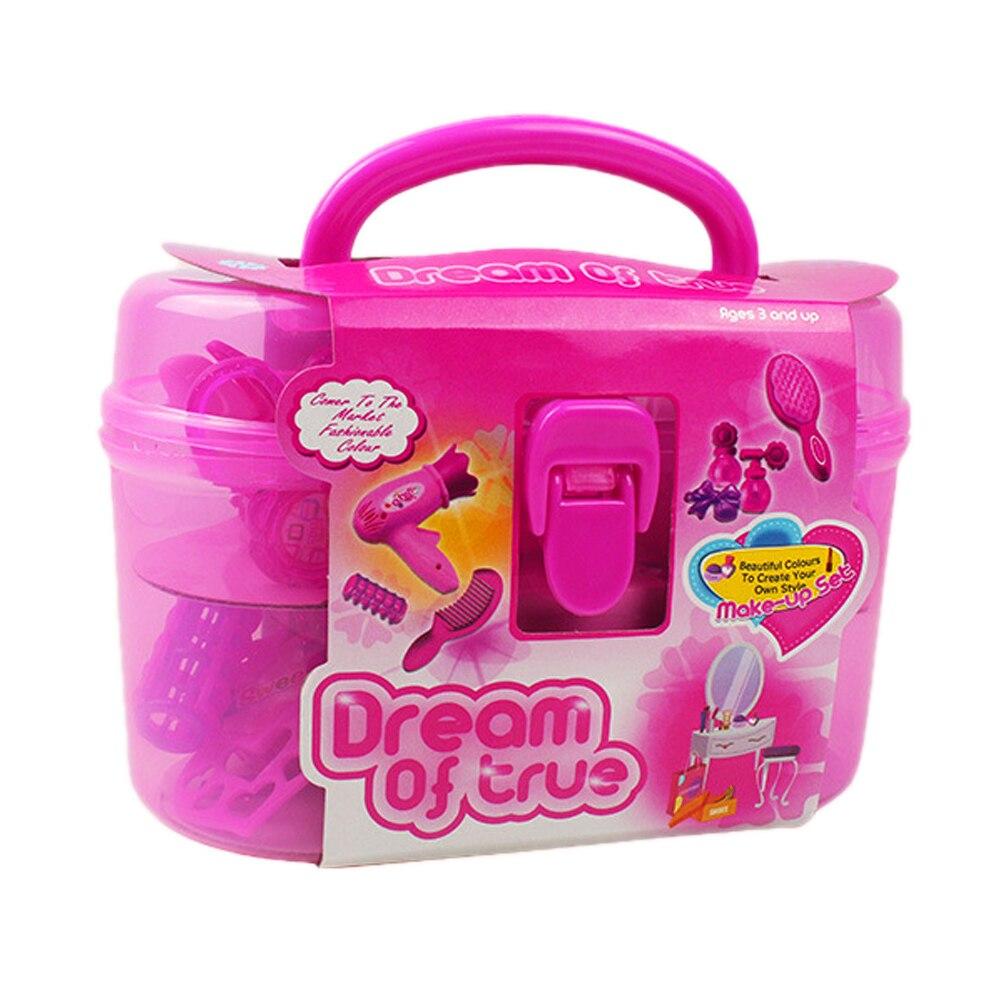 Merah muda Gadis Mainan Berpura pura Bermain Make Up Kit dengan Kotak Kecantikan  Salon Termasuk Miniatur Pengering Rambut Sisir Botol Parfum Lipstik di ... 90d9034d25
