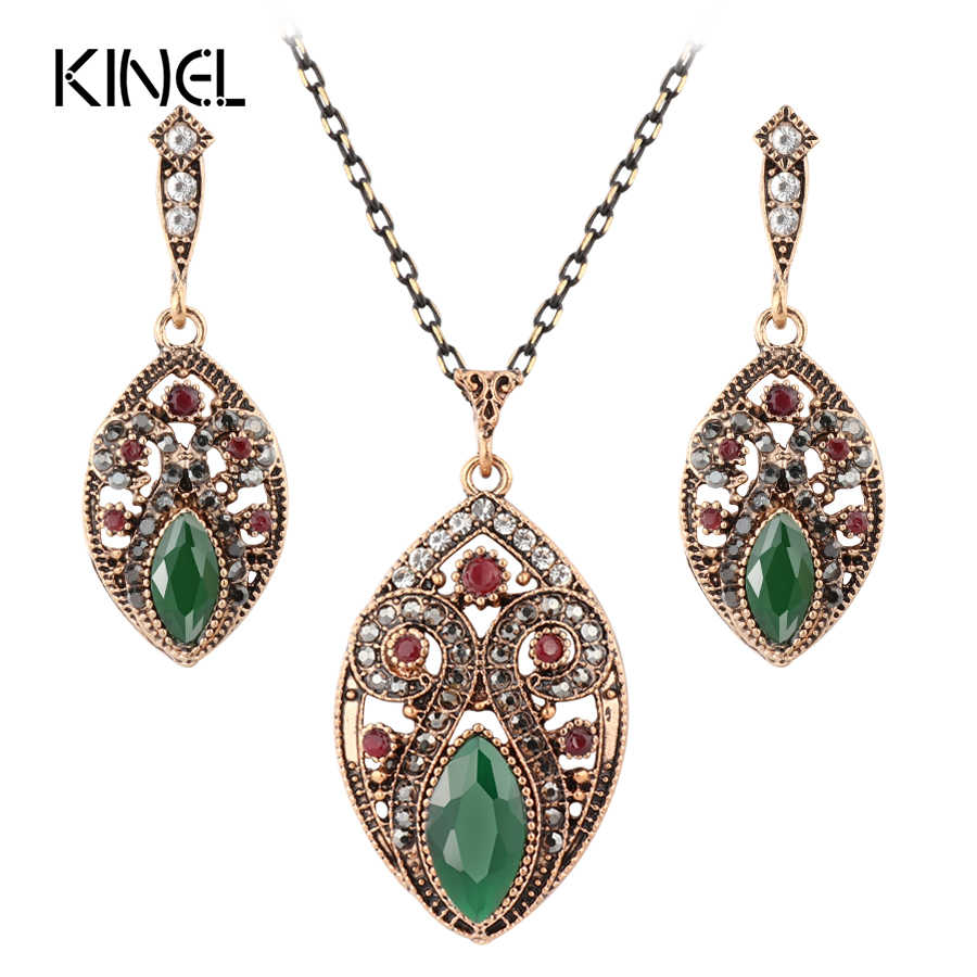 Hot Women Vintage Jewelry Set Turkish Pendant Necklace & Earrings 2Pcs Sets Antique Gold Resin Crystal Gift For Love