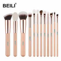 BEILI Pink Goat Hair Essential Foundation Eye shadow Blending Highlight Concealer 12pcs Makeup Brush Set rose golden ferrule