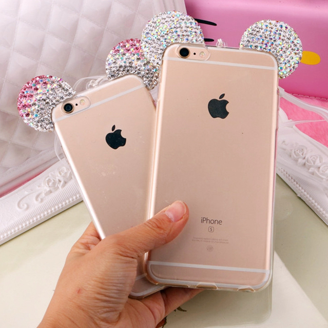 sale retailer ca0bb c126f US $3.89 |Hot Luxury 3D Diamond Glitter Mickey Minnie Mouse Ears Rhinestone  Clear Phone Cases Cover For iPhone 5 5S SE 6 6G 6S 6Plus 5.5 on ...
