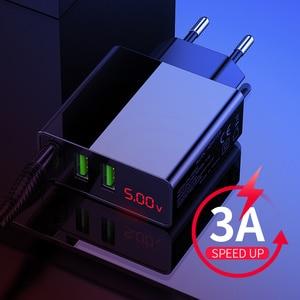 Image 5 - 携帯電話充電器ledディスプレイ3 usb充電器iphoneサムスンxiaomi euトラベル壁の充電器電話充電usbアダプタ