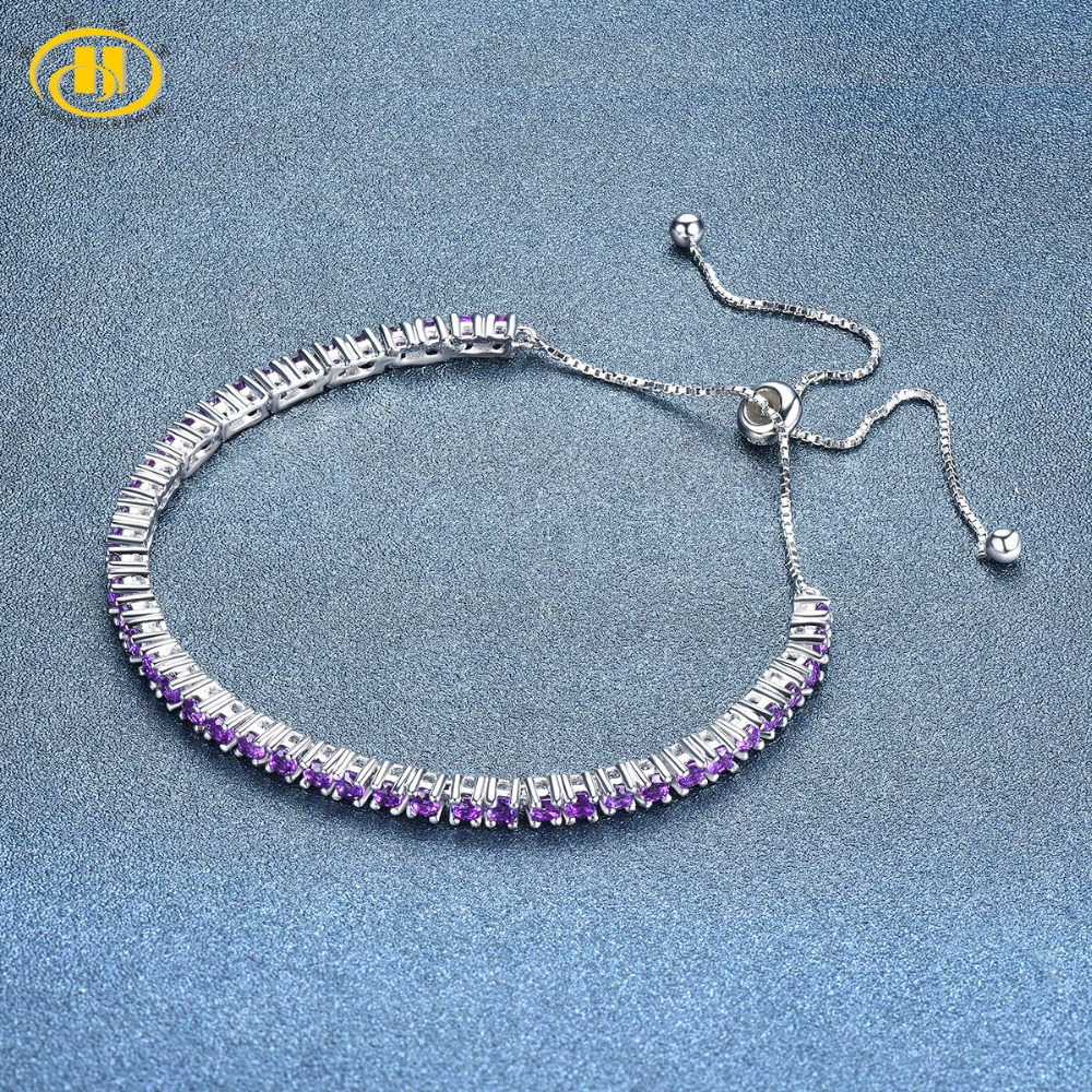 Hutang Amethyst Adjustable Bracelet Natural Gemstone Solid 925 Sterling Silver Fine Fashion Stone Jewelry For Women Girls' Gift hutang stone jewelry 8 83 ct natural amethyst gemstone solid 925 sterling silver bracelets for women fine fashion jewelry 7 25