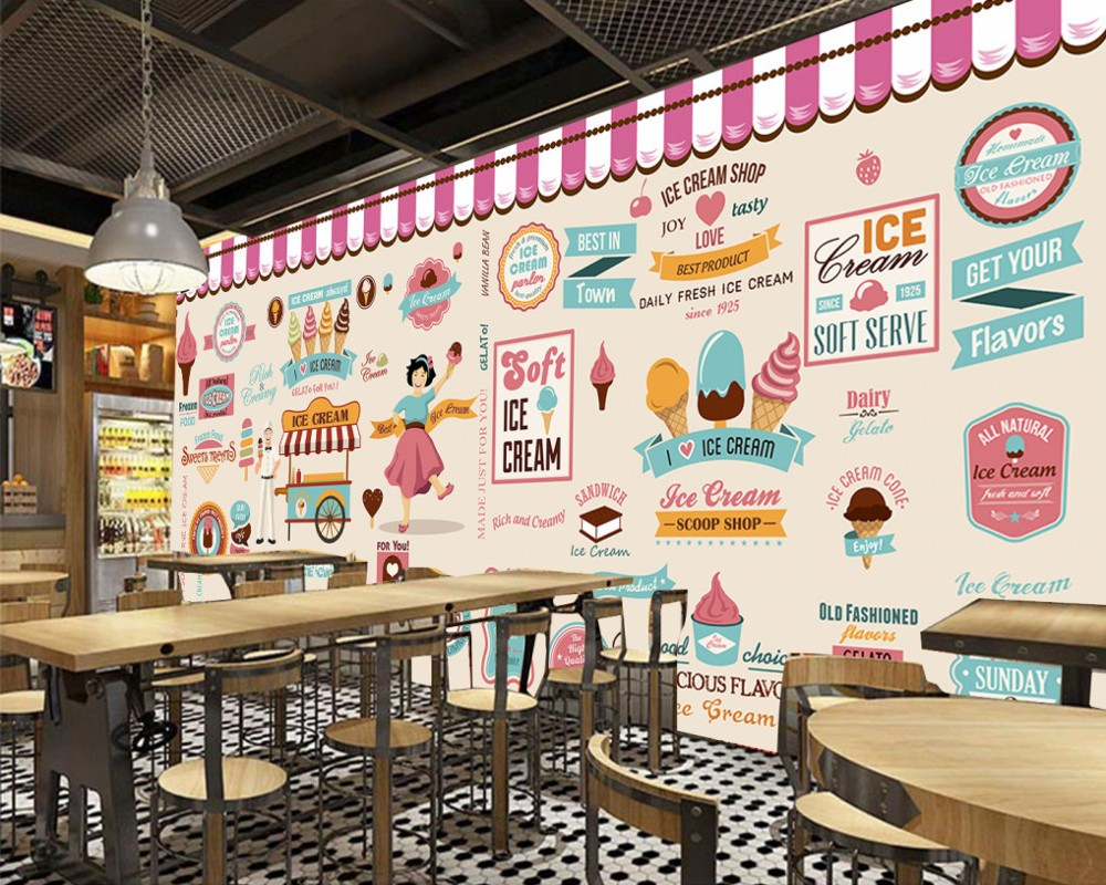 Free Shipping Custom Mural Wallpaper Ice Cream Ice Cream Coffee Shop Tea Shop Restaurant Background Wallpaper Decoration зеркало с фацетом в багетной раме поворотное evoform exclusive 53x83 см прованс с плетением 70 мм by 3407
