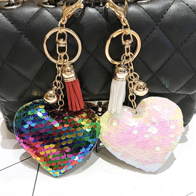 Ring Keychain Women Key Fashion Gift Pendant Cat Tassel Cute Girl Sequin Llavero