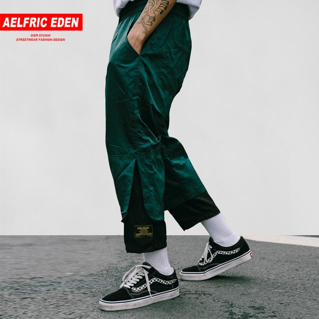 Aelfric Eden Patchwork Fashion Joggers Men Calf-length Harem Pants Summer Hip Hop Jogger 2019 High Street Skateboard Streetwear