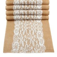 OurWarm Jute Table Runner Burlap Lace Cloth Wedding Party Home Decoration Tablecloth Runners Modern for Dining