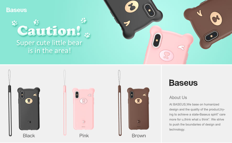 Wear-proof Phone Case for iPhone XS Protective Baseus Fashion Lovely Phone Cover
