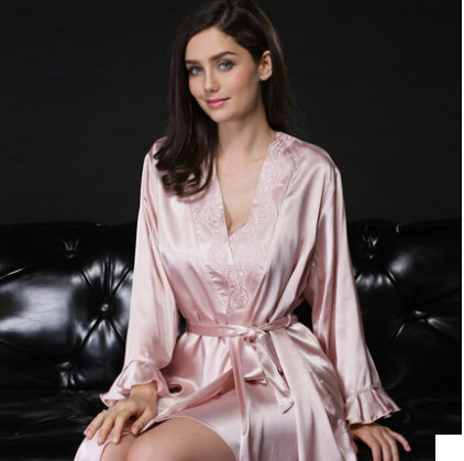 b1e64f28ef Luxury Robe Set 95% Silk Solid Color Red Pink Nightgown+Robe 2pcs Sets  Pajamas Home Clothing Bathrobe Robe Femme Freeshipping