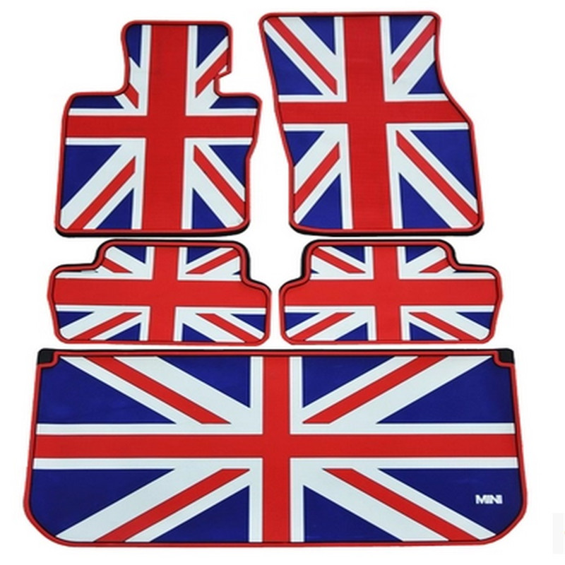 special waterproof rugs rubber car floor mats+ trunk mats for mini F56 mini one coopers senior environmental latex British flag special rubber latex green car trunk mats case for benz smart desinged for original car model
