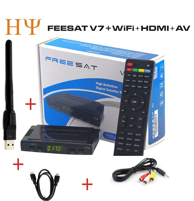 ФОТО Freesat V7 Genuine Satellite Receiver hd Full 1080P HD+1PC WiFi adaptor DVB-S2 Support Ccam powervu youpron Satellite Receiver