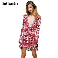 Sukibandra Floral Beach Kimono Long Chiffon Boho Cardigan 2018 Cover Up Long Sleeve V Neck Women Autumn Bohemian Chiffon Blouse