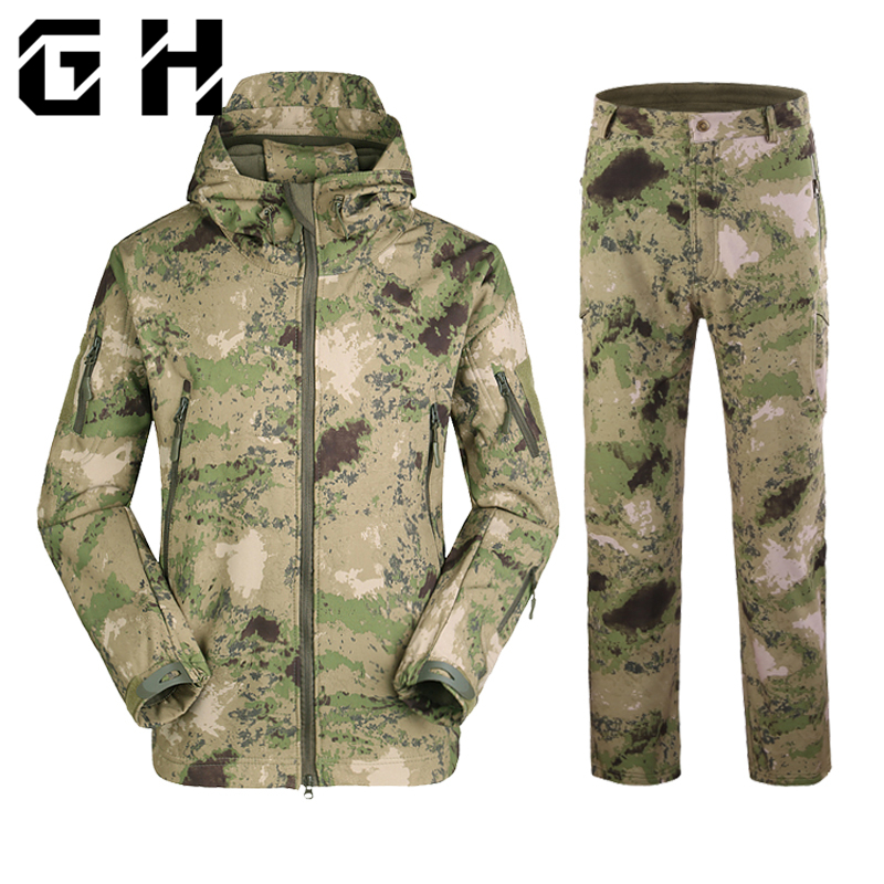 4066c6f3d75c0 Tactical Gear Soft Shell Camouflage Out door Jacket Men Army Waterproof  Hunting Clothes Sport Windbreaker Military Hiking Coat
