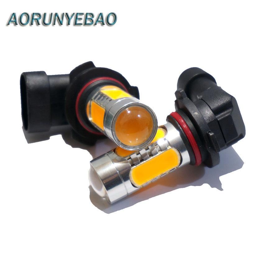 AORUNYEBAO 2stk Bilbil 9006 HB4 9005 HB3 H7 H1 H11 7,5 W COB LED med objektiv Vänd dimma Ljusbromslampa Vitgul 12V