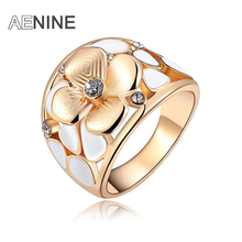 AENINE Brand Exquisite Opal Flower Rings For Women With Genuine Austrian Crystal Rose Gold Color Party Ring Jewelry L2010572110