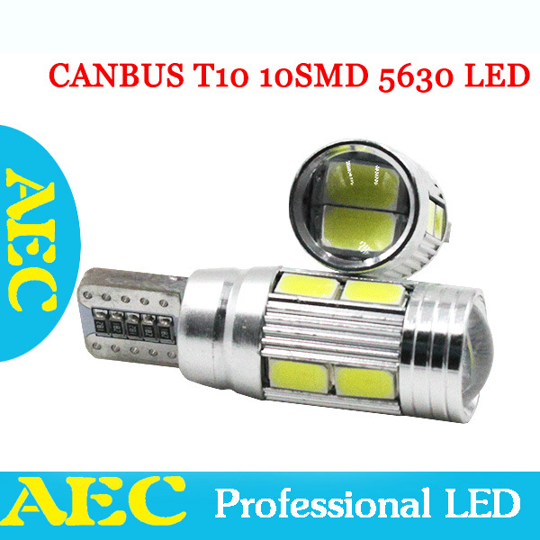 10Pcs T10 CANBUS T10 10 SMD 5630 Lens LED no error 10smd 5730 168 194 Car Light Auto White Green Blue Red Yellow 12V For VW Golf люстра потолочная colosseo tristano 81603 3c