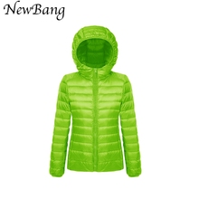 Multicolor Clothes Women Ultra Light Down Jacket Hooded Winter Coat Portable Parka Female Jackets With Carry Bag