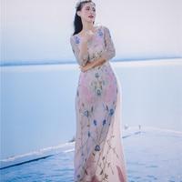 Для женщин летний тропический путешествия Кружево Вышивка Цветочные Птица длинные сетчатые платья элегантные дамы красивые дизайнерские ...