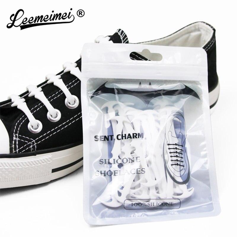 16pcs/set Silicone shoes lace Elastic Plastic No Tie White Black Grey silicone lacci Adult Children Bat Shape Elastic Shoelaces