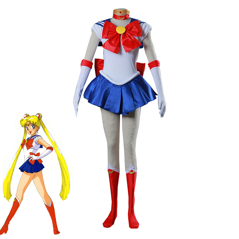 Anime Pretty Soldier Sailor Moon Cosplay Costume Adult and Kids Tsukino Usagi Red Dress Halloween Carnival Uniform Custom Made
