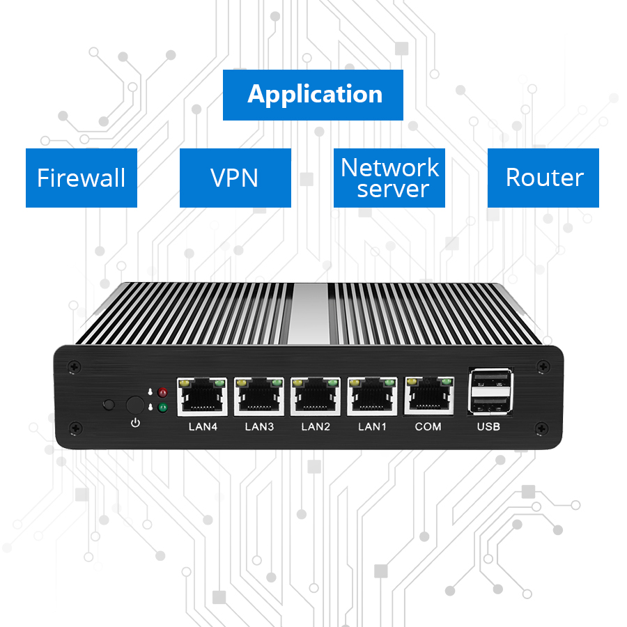 Image 4 - Fanless Firewall Mini PC Intel Celeron J1800 J1900 4 Gigabit LAN Pfsense Router Windows Server Linux VGA 2*USB Intel i211AT NIC-in Mini PC from Computer & Office