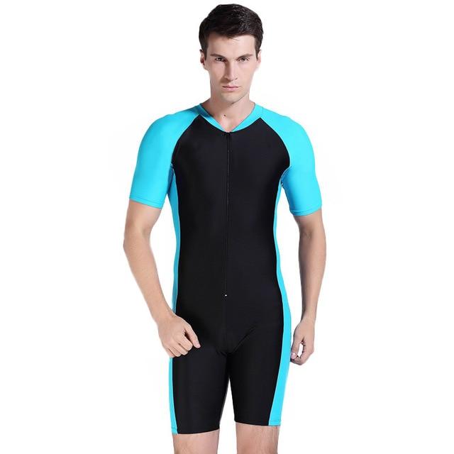 Free Shipping Men Dive Skin Swimwear Surf Divingsuit Short Sleeve Bathing Wetsuit One Piece Bathing Suit Spearfishing rashguard