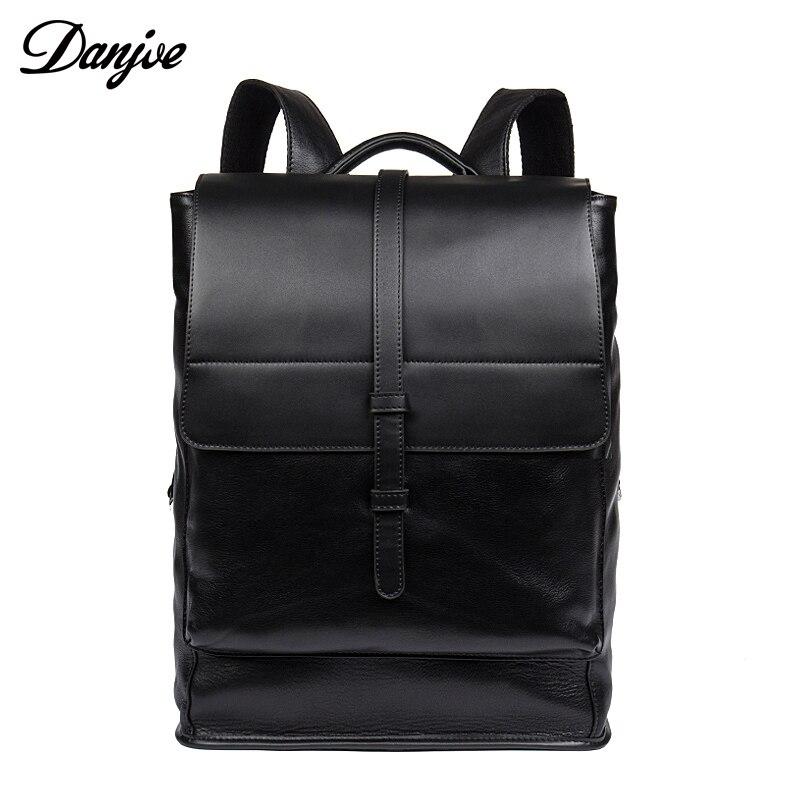 DANJUE Genuine Leather Backpacks For Teenager Fashion Men School Bag Black 14 Laptop Backpack Preppy Style Travel Anti Thief